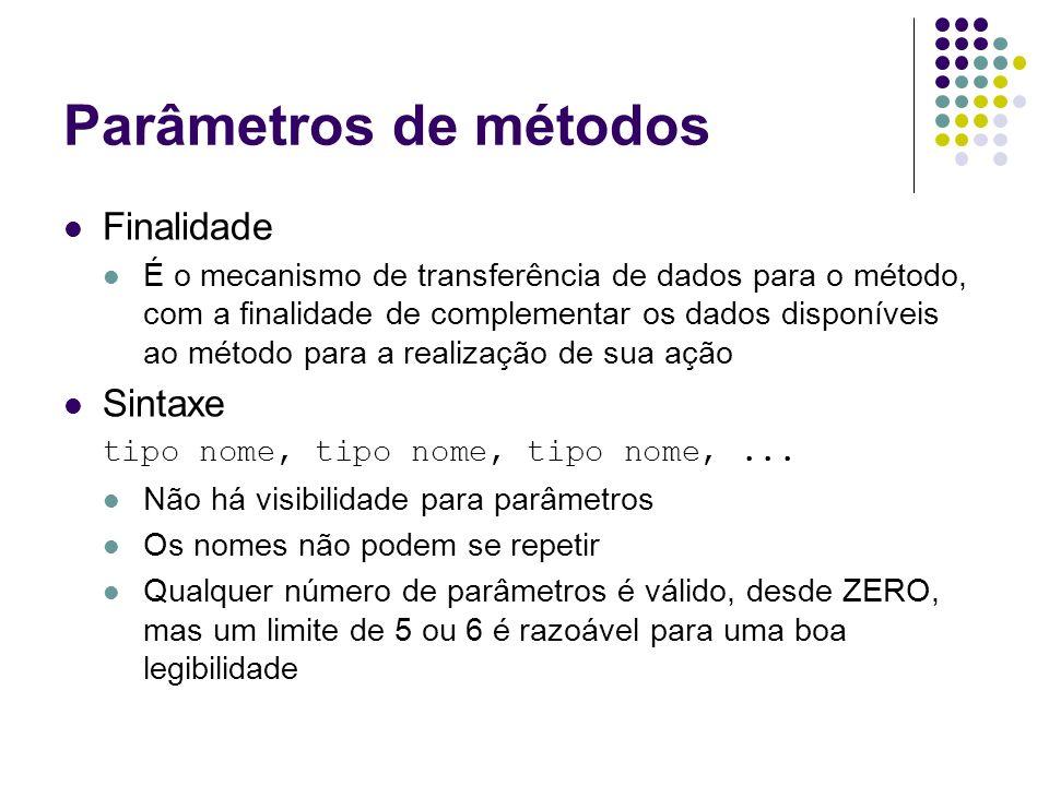 Parâmetros de métodos Finalidade É o mecanismo de transferência de dados para o método, com a finalidade de complementar os dados disponíveis ao métod