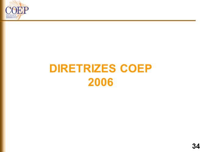 DIRETRIZES 2006 Fortalecer a Rede COEP Implementar Projeto de Desenvolvimento Comunitário segundo Metodologia COEP Criar / Ampliar Rede Mobilizadores COEP (Definir Coordenação) Criar COEP Municipais Integrar Área de Comunicação Entidade / COEP (Definir Coordenação) Construir Site do COEP Estadual / Municipal segundo padrões já definidos Implementar as atividades coletivas previstas para serem realizadas por todos COEP Estaduais / Municipais PLANEJAMENTO COEP 35