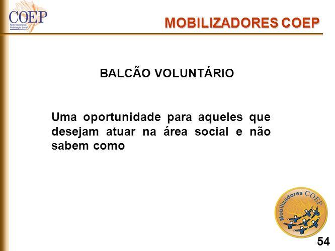 BALCÃO VOLUNTÁRIO Uma oportunidade para aqueles que desejam atuar na área social e não sabem como MOBILIZADORES COEP 54