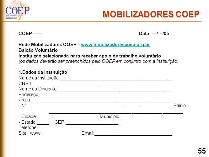 COEP ------Data: ---/---/05 Rede Mobilizadores COEP – www.mobilizadorescoep.org.brwww.mobilizadorescoep.org.br Balcão Voluntário Instituição selecionada para receber apoio de trabalho voluntário (os dados deverão ser preenchidos pelo COEP em conjunto com a Instituição) 1.Dados da Instituição Nome da Instituição ____________________________________________ CNPJ ___________________________ Nome do Dirigente_____________________________________________ Endereço: - Rua ________________________________________________________ - N° _______________________________________________________ Bairro _____________________________________________________ - Cidade _________________________Municipio ____________________ - Estado _____ CEP _____________________ Telefone: _______________________________ Site: www.