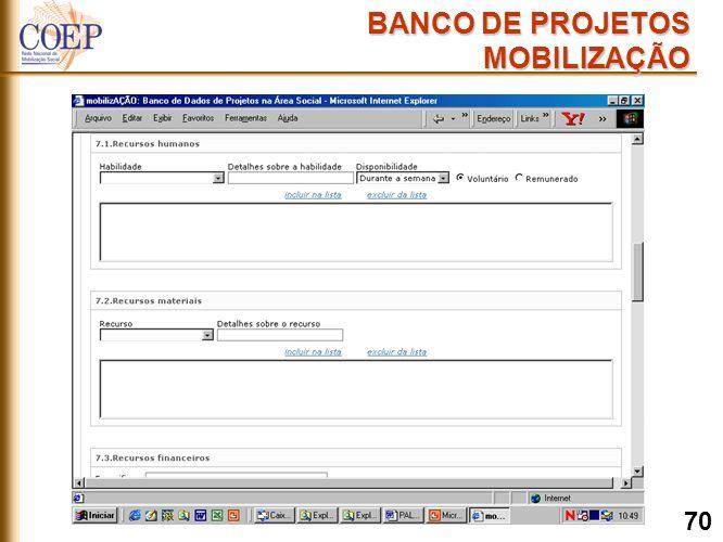 BANCO DE PROJETOS MOBILIZAÇÃO 70