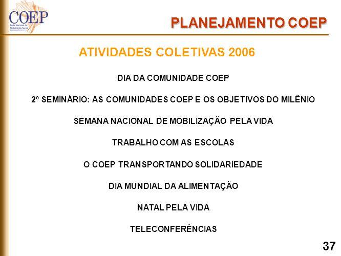 DIA DA COMUNIDADE COEP 2º SEMINÁRIO: AS COMUNIDADES COEP E OS OBJETIVOS DO MILÊNIO SEMANA NACIONAL DE MOBILIZAÇÃO PELA VIDA TRABALHO COM AS ESCOLAS O COEP TRANSPORTANDO SOLIDARIEDADE DIA MUNDIAL DA ALIMENTAÇÃO NATAL PELA VIDA TELECONFERÊNCIAS PLANEJAMENTO COEP ATIVIDADES COLETIVAS 2006 37