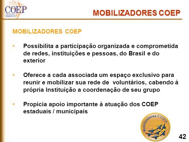 NOV/2005: em torno de 2180 Mobilizadores cadastrados Metas: Ampliar o número de mobilizadores MOBILIZADORES COEP 53