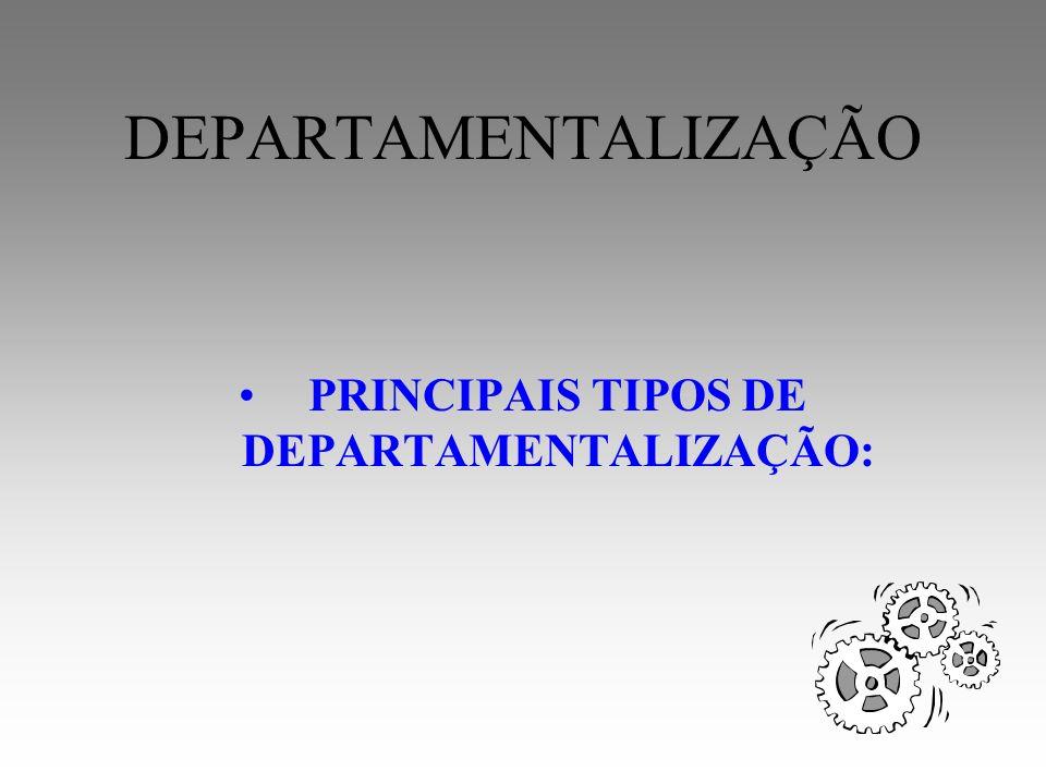 DEPARTAMENTALIZAÇÃO 1- Função 2- Produto ou serviço 3- Território 4- Cliente 5- Processo 6- Projeto 7- Matricial 8- Mista