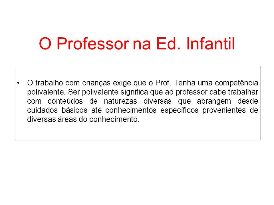 O Professor na Ed. Infantil O trabalho com crianças exige que o Prof. Tenha uma competência polivalente. Ser polivalente significa que ao professor ca
