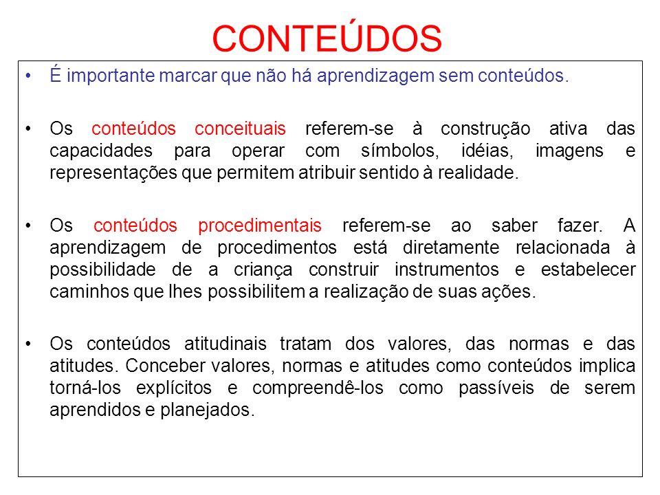 CONTEÚDOS É importante marcar que não há aprendizagem sem conteúdos. Os conteúdos conceituais referem-se à construção ativa das capacidades para opera