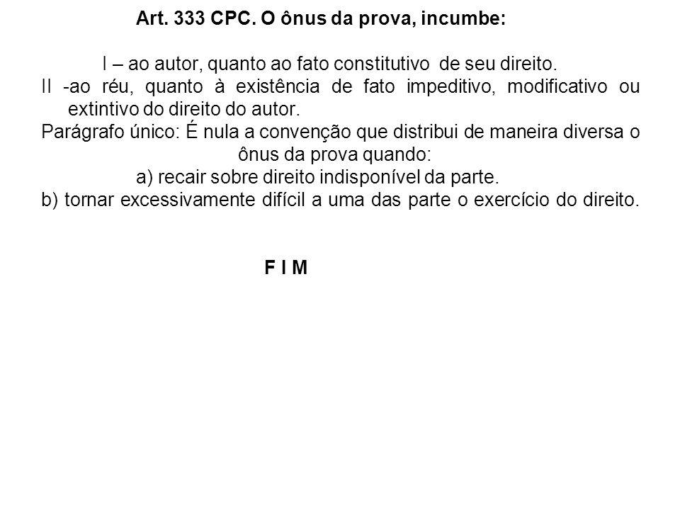 Art. 333 CPC. O ônus da prova, incumbe: I – ao autor, quanto ao fato constitutivo de seu direito. II -ao réu, quanto à existência de fato impeditivo,