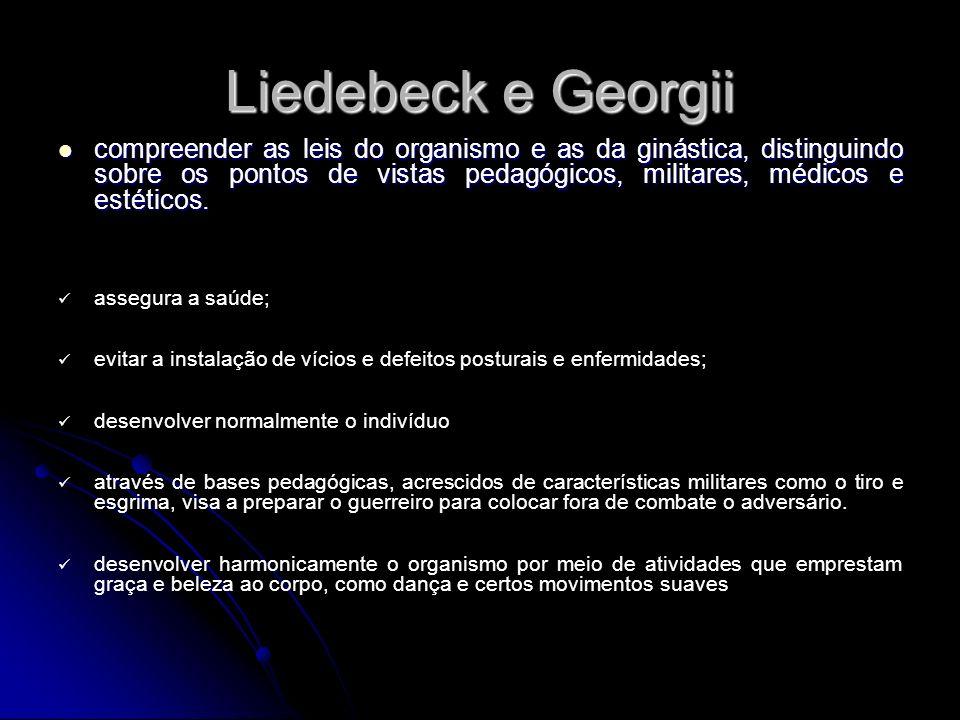Liedebeck e Georgii compreender as leis do organismo e as da ginástica, distinguindo sobre os pontos de vistas pedagógicos, militares, médicos e estét