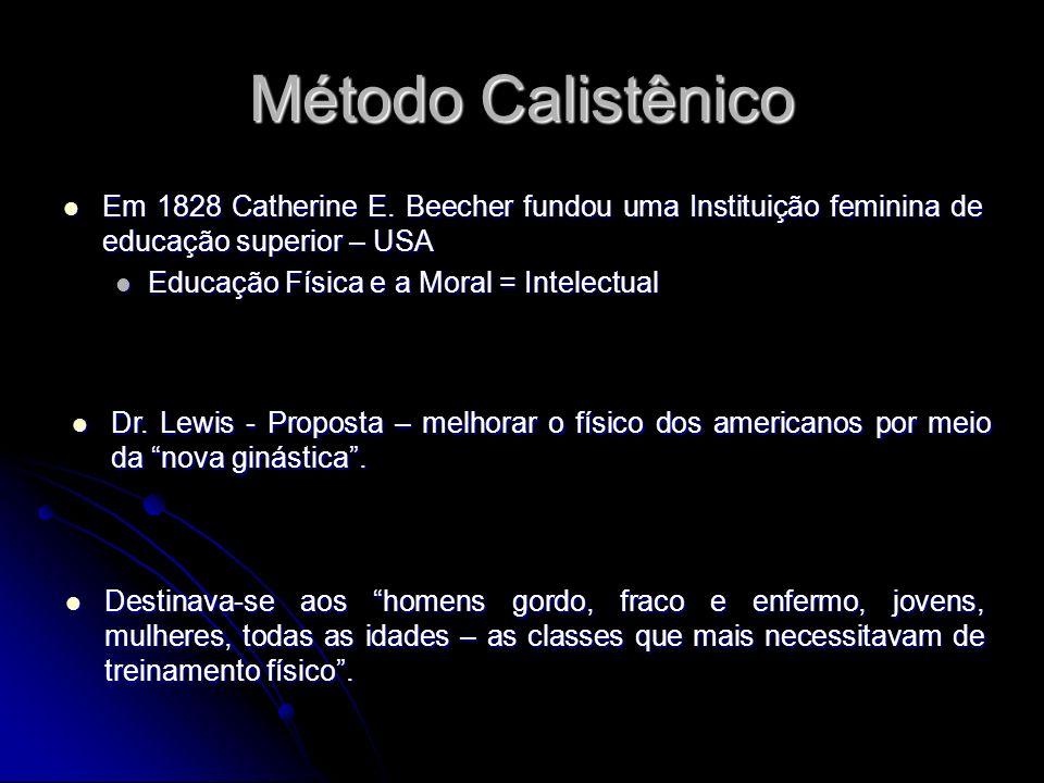 Método Calistênico Em 1828 Catherine E. Beecher fundou uma Instituição feminina de educação superior – USA Em 1828 Catherine E. Beecher fundou uma Ins
