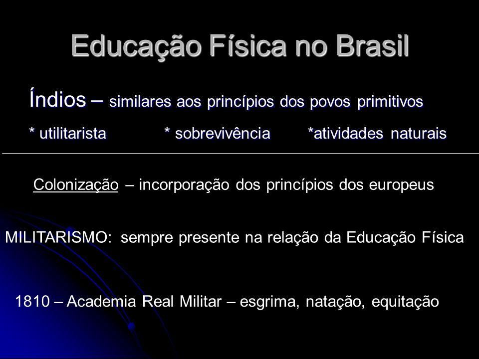 Educação Física no Brasil Índios – similares aos princípios dos povos primitivos * utilitarista * sobrevivência *atividades naturais Colonização – inc