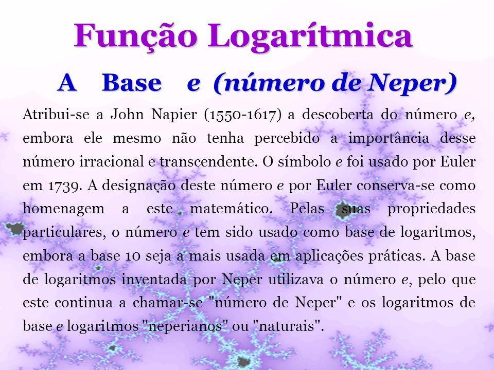 Função Logarítmica A Base e (número de Neper) Atribui-se a John Napier (1550-1617) a descoberta do número e, embora ele mesmo não tenha percebido a im