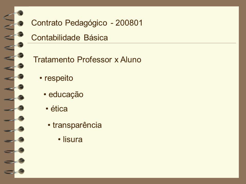 Tratamento Professor x Aluno respeito educação ética transparência lisura Contrato Pedagógico - 200801 Contabilidade Básica
