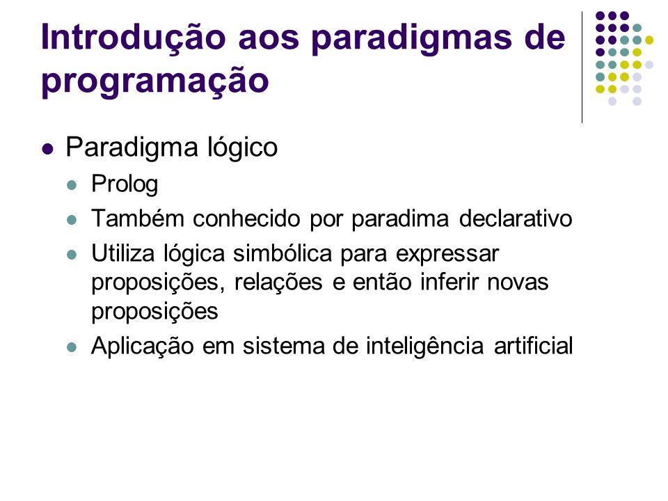 Introdução aos paradigmas de programação Paradigma lógico Prolog Também conhecido por paradima declarativo Utiliza lógica simbólica para expressar pro