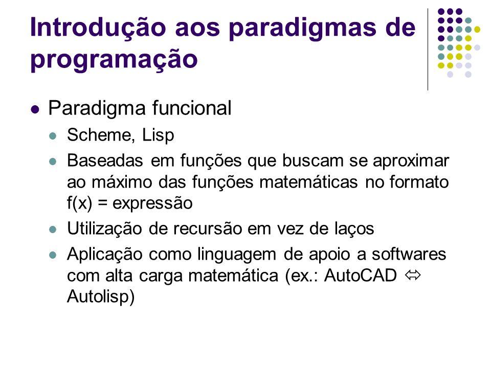 Introdução aos paradigmas de programação Paradigma funcional Scheme, Lisp Baseadas em funções que buscam se aproximar ao máximo das funções matemática
