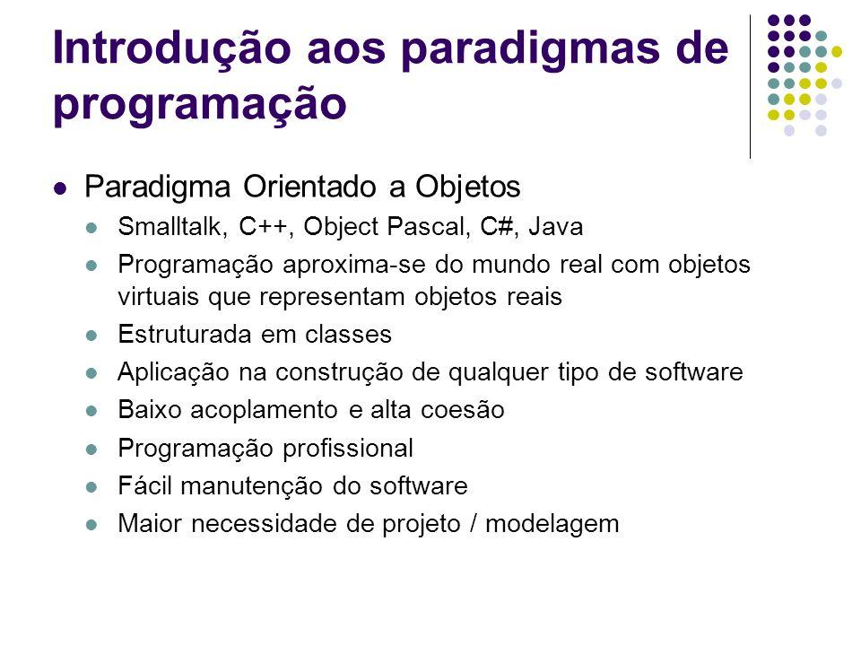 Introdução aos paradigmas de programação Paradigma Orientado a Objetos Smalltalk, C++, Object Pascal, C#, Java Programação aproxima-se do mundo real c