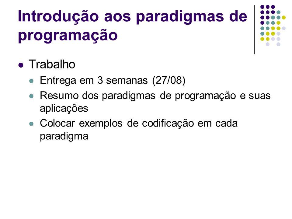 Introdução aos paradigmas de programação Trabalho Entrega em 3 semanas (27/08) Resumo dos paradigmas de programação e suas aplicações Colocar exemplos