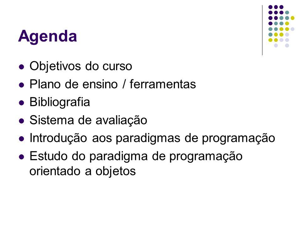 Agenda Objetivos do curso Plano de ensino / ferramentas Bibliografia Sistema de avaliação Introdução aos paradigmas de programação Estudo do paradigma