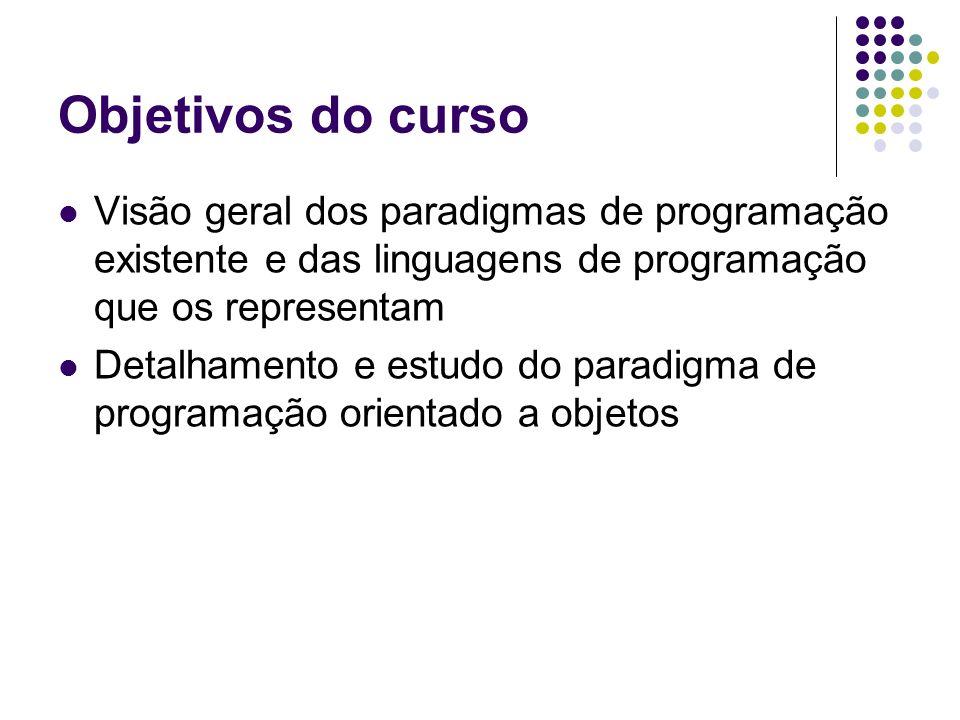 Agenda Objetivos do curso Plano de ensino / ferramentas Bibliografia Sistema de avaliação Introdução aos paradigmas de programação Estudo do paradigma de programação orientado a objetos
