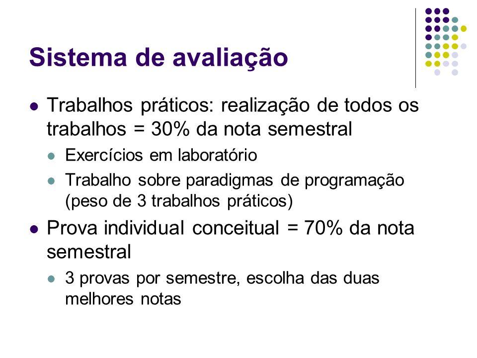 Sistema de avaliação Trabalhos práticos: realização de todos os trabalhos = 30% da nota semestral Exercícios em laboratório Trabalho sobre paradigmas