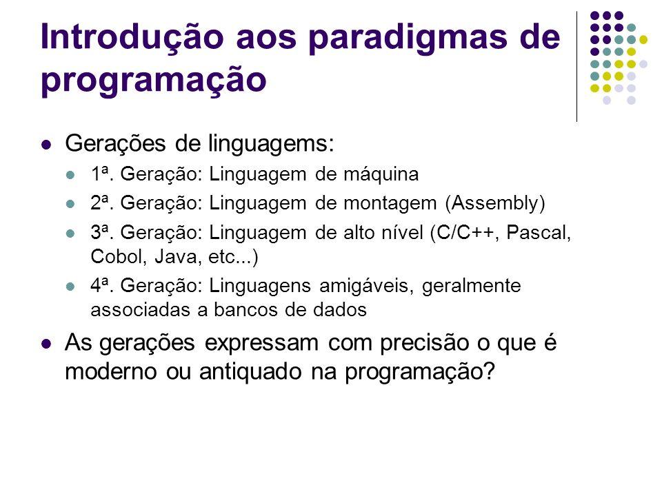 Introdução aos paradigmas de programação Gerações de linguagems: 1ª. Geração: Linguagem de máquina 2ª. Geração: Linguagem de montagem (Assembly) 3ª. G