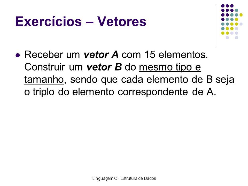 Linguagem C - Estrutura de Dados Exercícios – Vetores Receber um vetor A com 15 elementos. Construir um vetor B do mesmo tipo e tamanho, sendo que cad