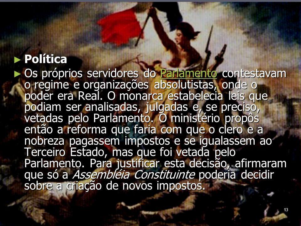 13 Política Política Os próprios servidores do Parlamento contestavam o regime e organizações absolutistas, onde o poder era Real.