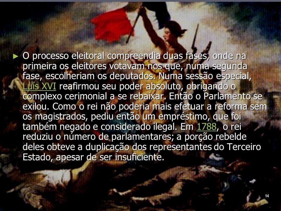 14 O processo eleitoral compreendia duas fases, onde na primeira os eleitores votavam nos que, numa segunda fase, escolheriam os deputados.