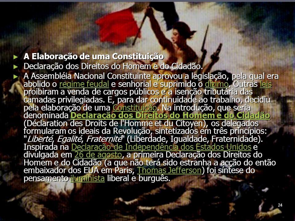 24 A Elaboração de uma Constituição A Elaboração de uma Constituição Declaração dos Direitos do Homem e do Cidadão.