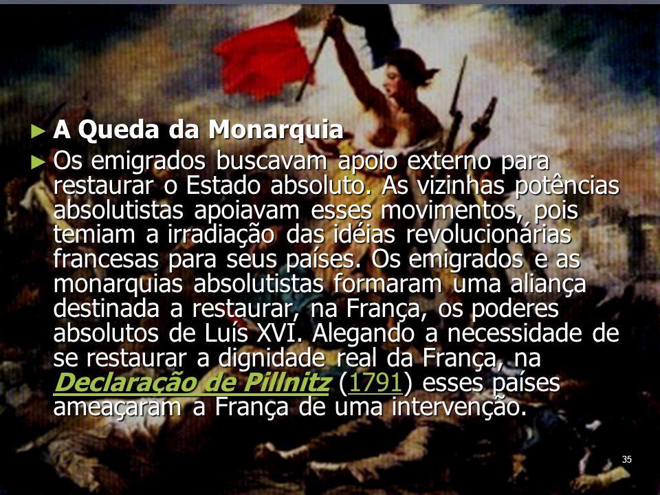 35 A Queda da Monarquia A Queda da Monarquia Os emigrados buscavam apoio externo para restaurar o Estado absoluto.