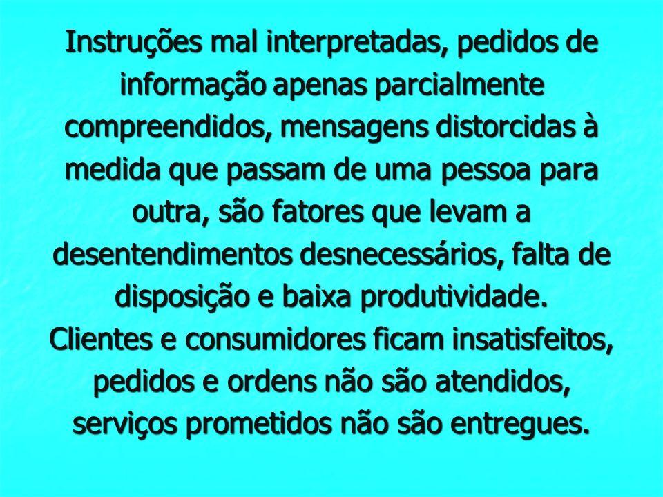 Instruções mal interpretadas, pedidos de informação apenas parcialmente compreendidos, mensagens distorcidas à medida que passam de uma pessoa para ou