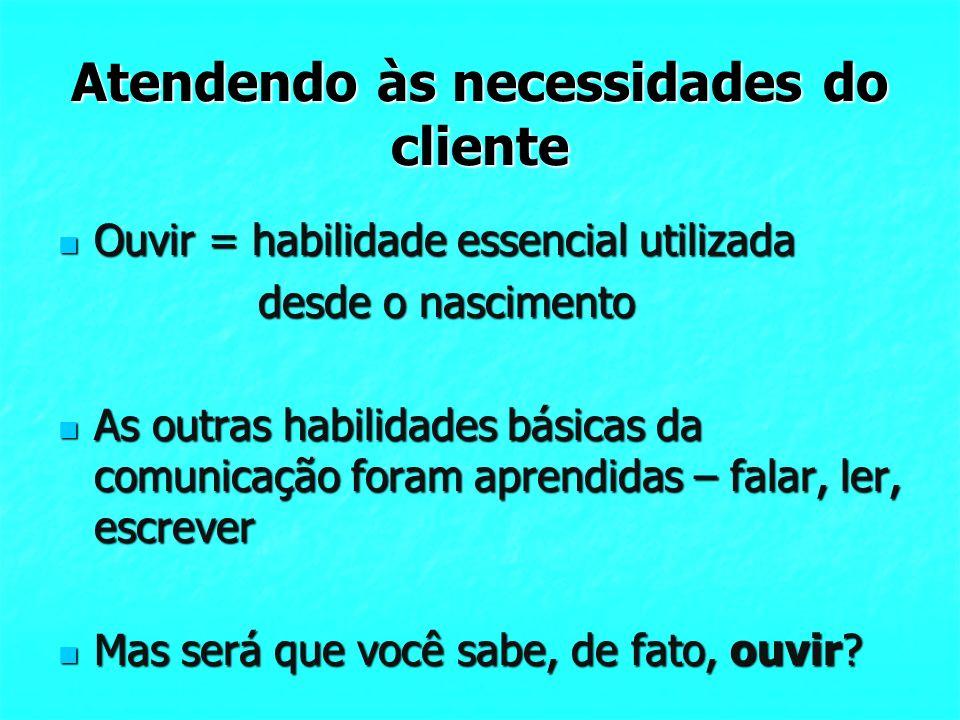 Atendendo às necessidades do cliente Ouvir = habilidade essencial utilizada Ouvir = habilidade essencial utilizada desde o nascimento desde o nascimen