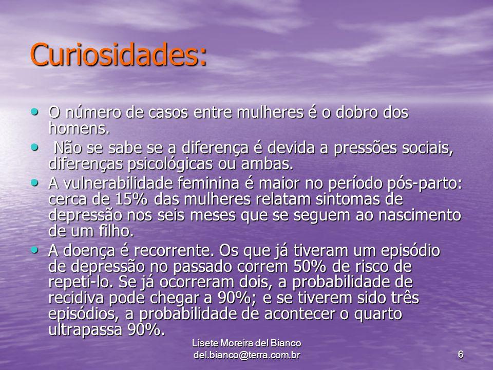 Lisete Moreira del Bianco del.bianco@terra.com.br6 Curiosidades: O número de casos entre mulheres é o dobro dos homens.