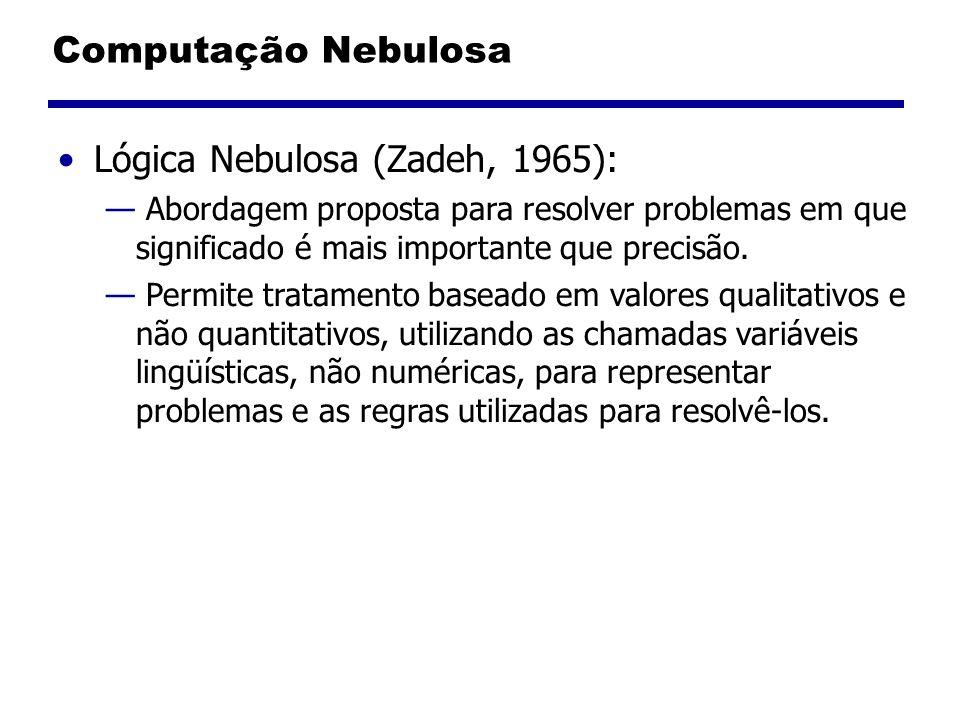 Computação Nebulosa Lógica Nebulosa (Zadeh, 1965): Abordagem proposta para resolver problemas em que significado é mais importante que precisão. Permi
