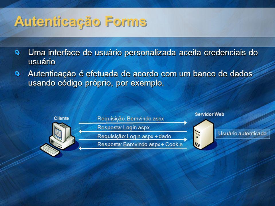Autenticação Forms Uma interface de usuário personalizada aceita credenciais do usuário Autenticação é efetuada de acordo com um banco de dados usando