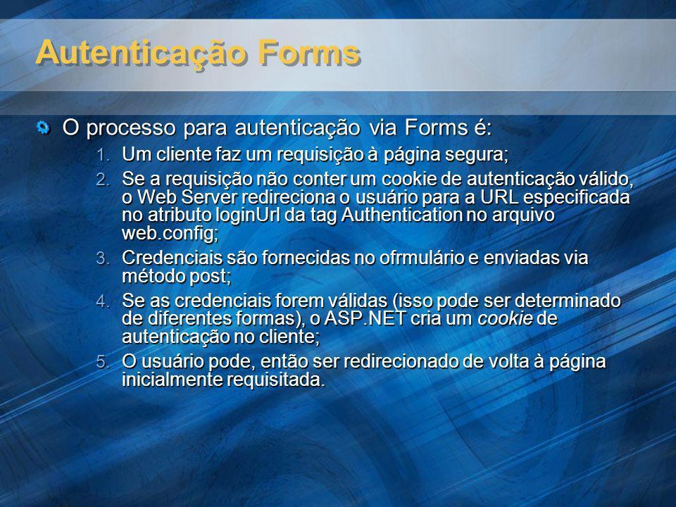 Autenticação Forms O processo para autenticação via Forms é: 1. Um cliente faz um requisição à página segura; 2. Se a requisição não conter um cookie