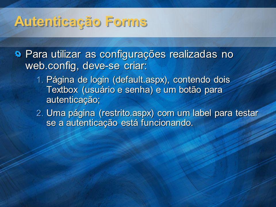 Autenticação Forms Para utilizar as configurações realizadas no web.config, deve-se criar: 1. Página de login (default.aspx), contendo dois Textbox (u