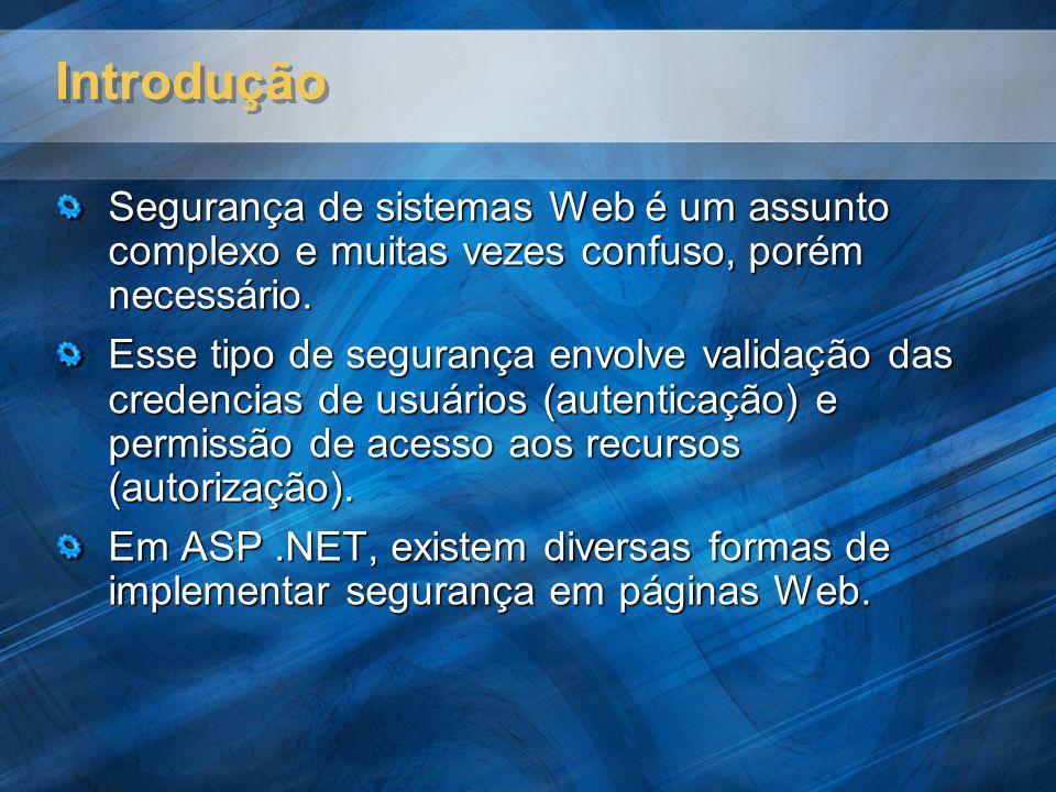 Introdução Segurança de sistemas Web é um assunto complexo e muitas vezes confuso, porém necessário. Esse tipo de segurança envolve validação das cred