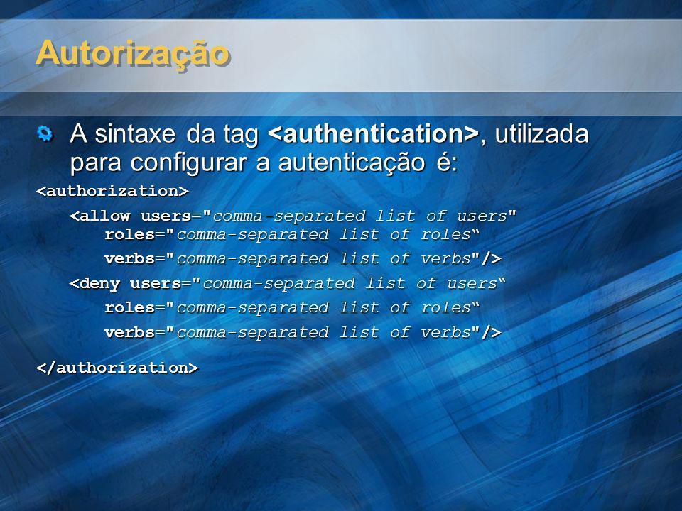 Autorização A sintaxe da tag, utilizada para configurar a autenticação é: <authorization> <allow users=
