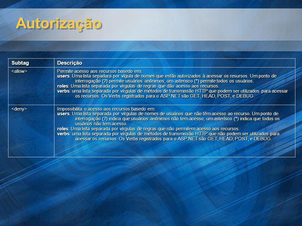 Autorização SubtagDescrição <allow> Permite acesso aos recursos basedo em: users: Uma lista sepadara por vígula de nomes que estão autorizados à acess