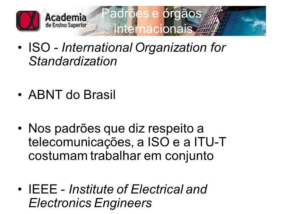 Padrões e órgãos internacionais ISO - International Organization for Standardization ABNT do Brasil Nos padrões que diz respeito a telecomunicações, a