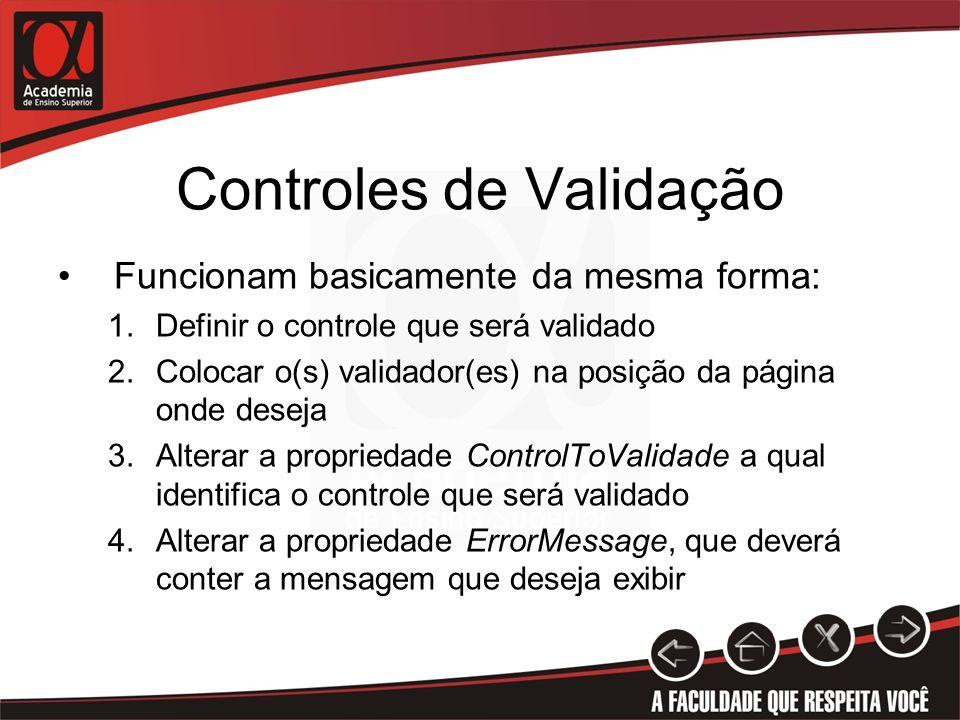 Controles de Validação Funcionam basicamente da mesma forma: 1.Definir o controle que será validado 2.Colocar o(s) validador(es) na posição da página