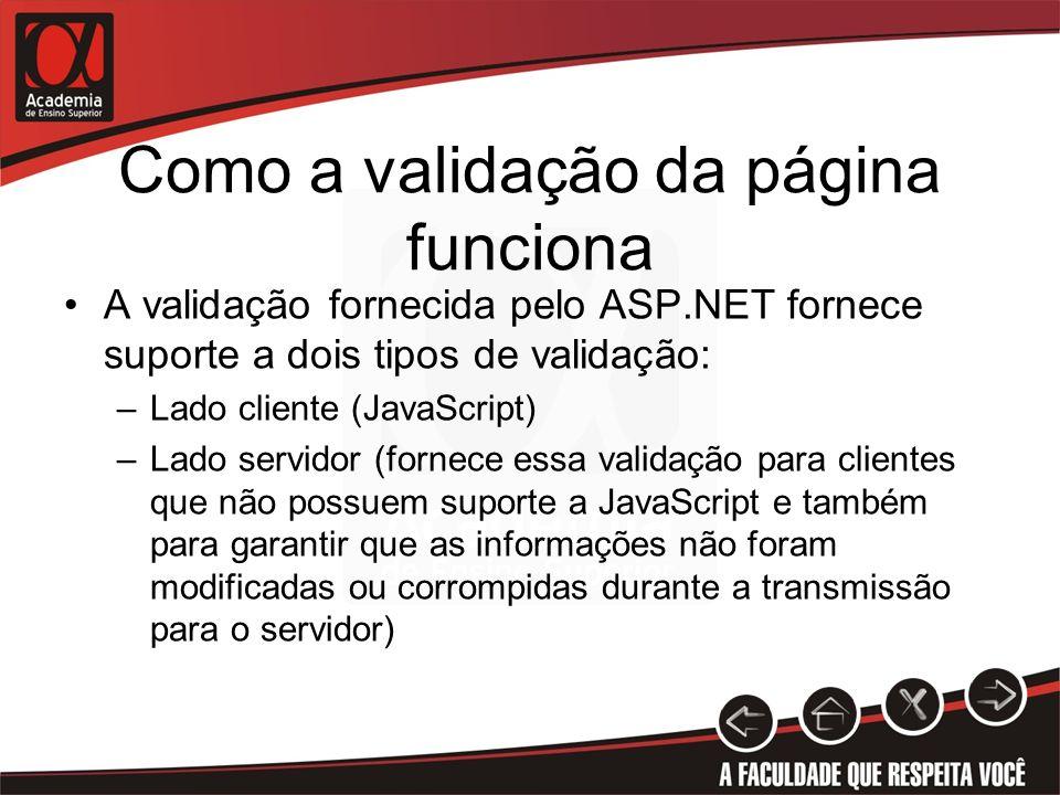 Validação do lado cliente Os validadores do ASP.NET realizam a validação do lado cliente vinculando um arquivo JavaScript denominado WebUIValidation.js ao código HTML enviado ao navegador Esse arquivo, contém as funções de validação necessárias à validação da página Ao tentar submeter a página para o servidor, as funções JavaScript validam os controles e caso exista algum problema, cancela a submissão, caso contrário permite o envio.