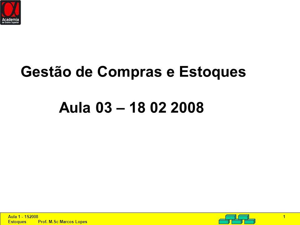Aula 1 - 1S2008 Estoques Prof. M.Sc Marcos Lopes 1 Gestão de Compras e Estoques Aula 03 – 18 02 2008