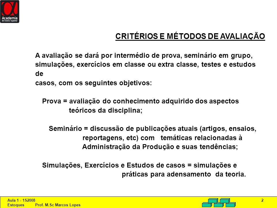 Aula 1 - 1S2008 Estoques Prof. M.Sc Marcos Lopes 2 CRITÉRIOS E MÉTODOS DE AVALIAÇÃO A avaliação se dará por intermédio de prova, seminário em grupo, s