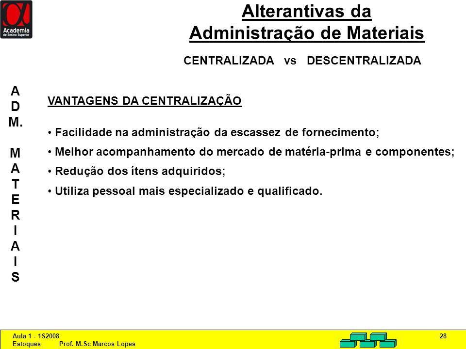 Aula 1 - 1S2008 Estoques Prof. M.Sc Marcos Lopes 28 Alterantivas da Administração de Materiais CENTRALIZADA vs DESCENTRALIZADA VANTAGENS DA CENTRALIZA