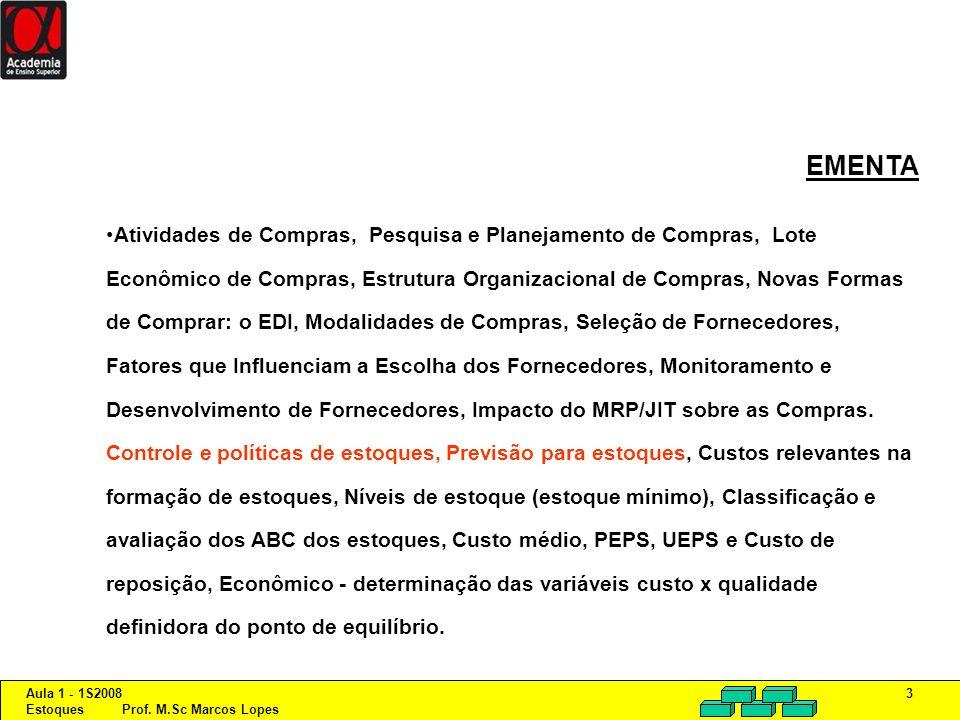 Aula 1 - 1S2008 Estoques Prof. M.Sc Marcos Lopes 3 EMENTA Atividades de Compras, Pesquisa e Planejamento de Compras, Lote Econômico de Compras, Estrut