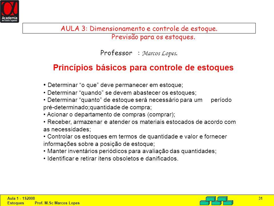 Aula 1 - 1S2008 Estoques Prof. M.Sc Marcos Lopes 31 AULA 3: Dimensionamento e controle de estoque. Previsão para os estoques. Professor : Marcos Lopes