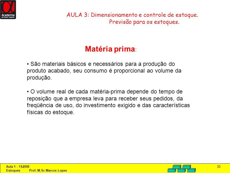 Aula 1 - 1S2008 Estoques Prof. M.Sc Marcos Lopes 33 AULA 3: Dimensionamento e controle de estoque. Previsão para os estoques. Matéria prima : São mate