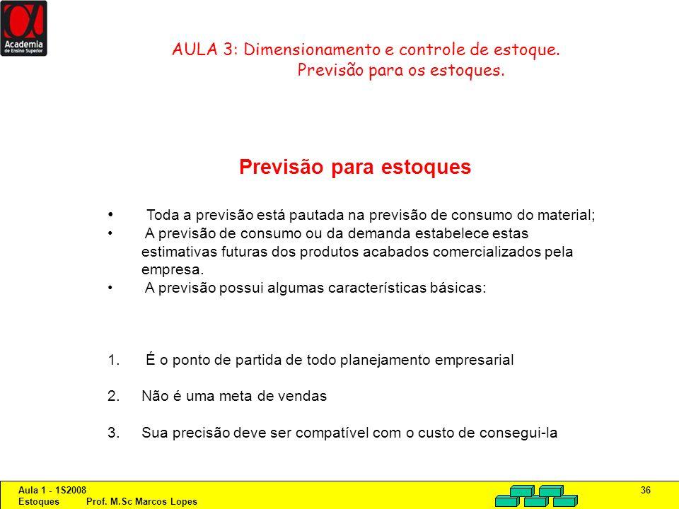 Aula 1 - 1S2008 Estoques Prof. M.Sc Marcos Lopes 36 AULA 3: Dimensionamento e controle de estoque. Previsão para os estoques. Previsão para estoques T