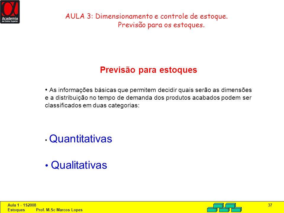 Aula 1 - 1S2008 Estoques Prof. M.Sc Marcos Lopes 37 AULA 3: Dimensionamento e controle de estoque. Previsão para os estoques. Previsão para estoques A